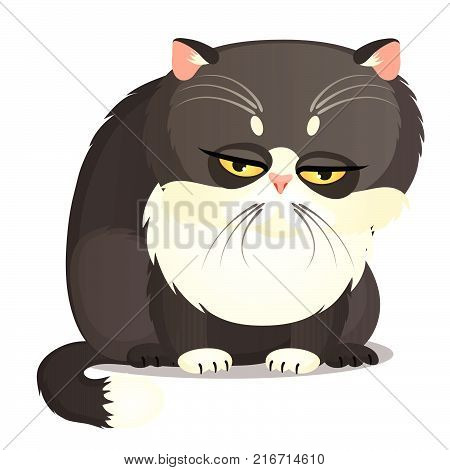 Sad fat gray cat with yellow eyes isolated on a white background. Funny animal. Vector cartoon close-up illustration.