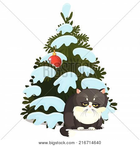 Sad guilty gray cat and broken toy on the Christmas tree isolated on a white background. Sketch of festive poster, party invitation, other holiday card. Vector cartoon close-up illustration.