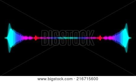 Abstract audio visualizer equalizer. Digital illustration backdrop. 3d rendering
