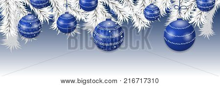 Christmas tree white branches with blue balls. Holidays baubles decoration banner. Vector illustration.