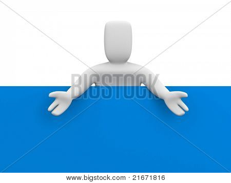 Person with billboard. Place you text or graphics