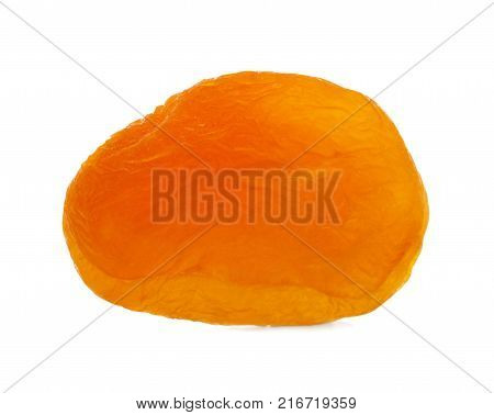 Dried appetizing apricot, dried apricots, lying close up, isolated on white background.