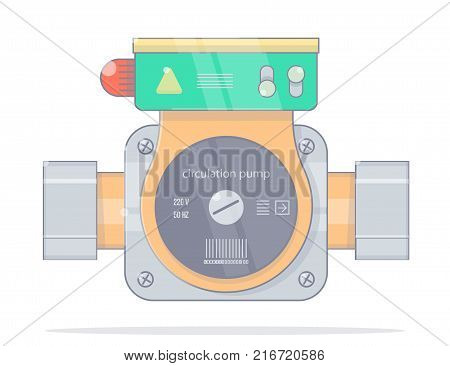 Circulation pump. Realistic cartoon style. Illustrations for the online store of plumbing.