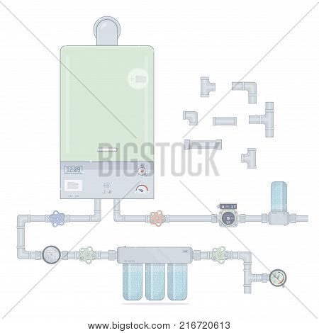 Heating system. Set gas boiler and circulation pump, water filter. Illustrations for the online store of plumbing.