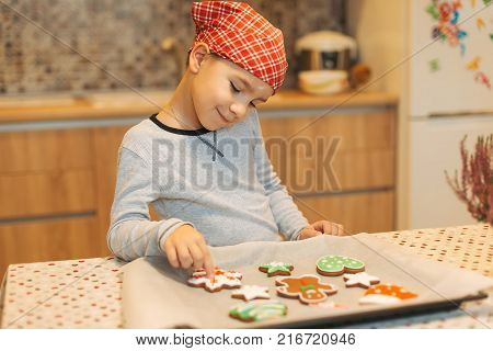Smiling boy anticipating how tasty are fresh baked Christmas biscuits. Child looking to colorful cookies on baking tray. Cute boy chef enjoying perfect view of fresh baked Christmas cookies.