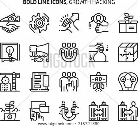 Growth Hacking, Bold Line Icons