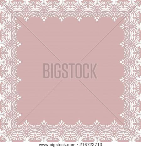 Classic vector whiite square frame with arabesques and orient elements. Abstract ornament with place for text. Vintage pattern