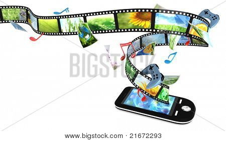 Smart phone with photos, video, music, and games