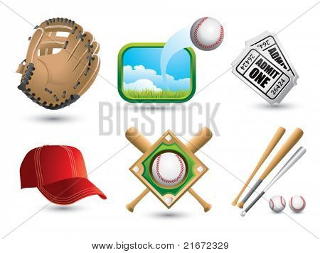 Baseballs, bats, diamond, cap, tickets, and glove on white backdrop