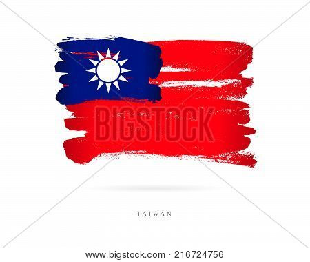 Flag of Taiwan. Vector illustration on white background. Beautiful brush strokes. Abstract concept. Elements for design.