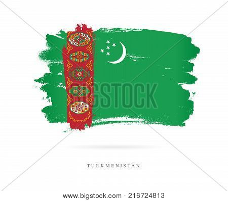 Flag of Turkmenistan. Vector illustration on white background. Beautiful brush strokes. Abstract concept. Elements for design.