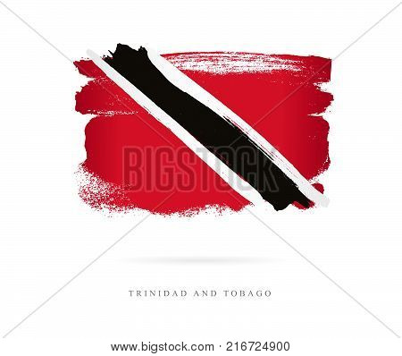Flag of Trinidad and Tobago. Vector illustration on white background. Beautiful brush strokes. Abstract concept. Elements for design.