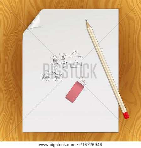 Graphite pencil on a white sheet of writing paper with a curved corner. An paper page with hand drawn couple of man, woman, house and car with a pencil and eraser. Mockup with stationery
