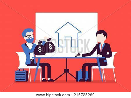 Real estate investment. Deal between men of purchase, ownership, management, rental or selling house, good market price for great profit. Vector business concept illustration with faceless characters