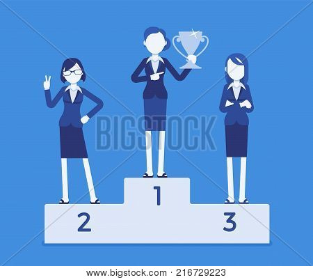 Women put on pedestal of honor. Honoring businesswomen, display for high esteem, place of reverence, workers treating with great respect. Vector business concept illustration with faceless characters