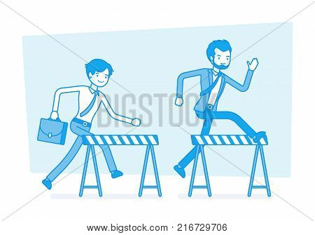 Businessmen running over obstacles. Young office workers jumping over barrier, going forward through financial difficultes and market hardships for goal. Vector business concept line art illustration