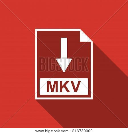 MKV file document icon. Download MKV button icon isolated with long shadow. Flat design. Vector Illustration
