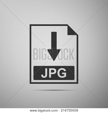 JPG file document icon. Download JPG button icon isolated on grey background. Flat design. Vector Illustration