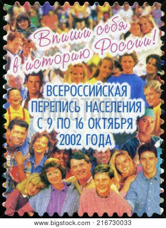 RUSSIA - CIRCA 2002: A post stamp printed in Russia devoted All-Russian population census. circa 2002