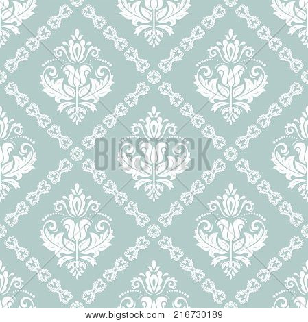 Orient vector classic pattern. Seamless abstract background with vintage white elements. Orient background