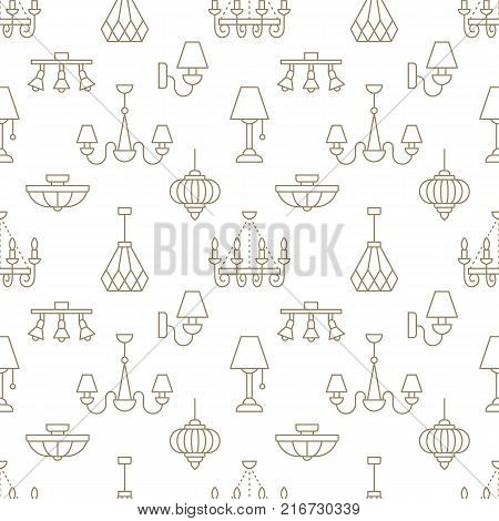 Light fixture, lamps seamless pattern, line illustration. Vector flat icons of home lighting equipment chandelier. Repeated background for interior store beige and white. poster