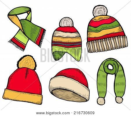 Vector set of hand drawn winter clothing icons. Knitted scarf and Hat. Engraved colored illustration. Use for winter sport design promotion, store, ski resort advertisement.