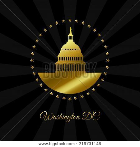 Washington DC symbol. White house and Capitol building arounded stars in gold isolated on dark rays background. USA landmark. Vector illustration