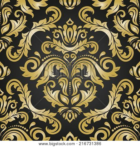 Orient vector classic pattern. Seamless abstract background with vintage elements. Orient black and golden background