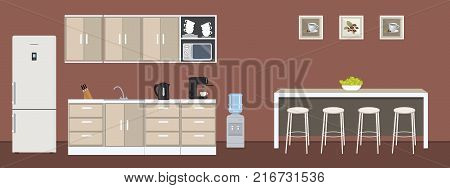 Dining room in the office. There are kitchen cabinets, a fridge, a table, chairs, a microwave, a kettle and a coffee machine in the image. There are also pictures with coffee on the wall. Vector