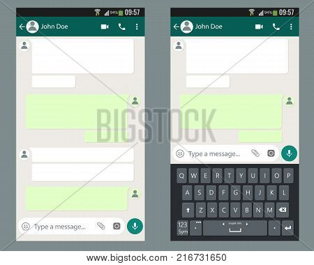 Mobile UI kit Chat app with mobile keyboard template on smartphone screen. Vector illustration