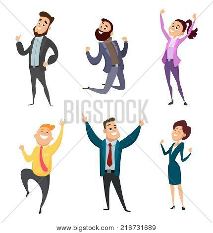 Male and female happy businessmen in action poses. Action businessman, happy business woman. Vector illustration