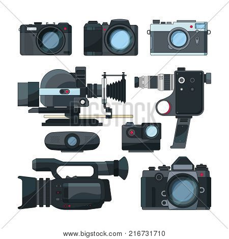 Digital video cameras and different professional equipment. Camera for photography and video. Vector illustration