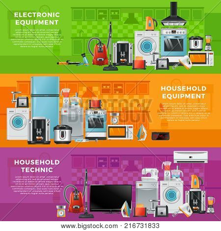 Horizontal banners set with different household technics. Electronic equipment in cartoon style. Kitchen household, wash machine and refrigerator. Vector illustration