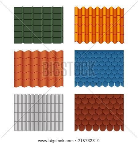 Vector seamless pattern set of roof tiles. Pictures isolate on white. Tile roof material, roofing waterproof structure collection illustration