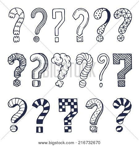 Set of drawn question marks in different styles. Vector doodles. Illustration of question symbol collection