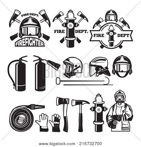Badges and labels set for fire department. Firefighter and fire department emblem, vector ilustration