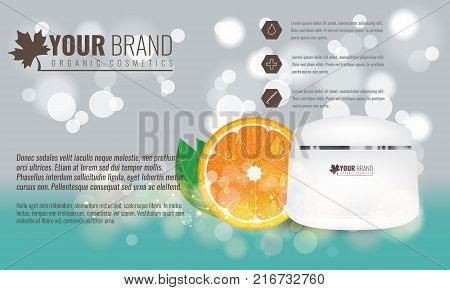 Vector illustration of Beautiful hydrating facial cream with citrus fruit, green leaf and water drops on it. Cosmetic ads on bubble background. Illustrated vector.