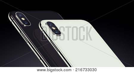 Smartphones similar to iPhone X back side isometric closeup. New modern black and white rotated isometric view smartphones back side with camera module on dark background. 3D illustration.