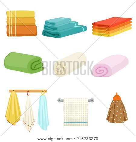 White and colored soft bathe or kitchen towels. Vector illustrations isolate. Towel textile soft for hygiene and kitchen