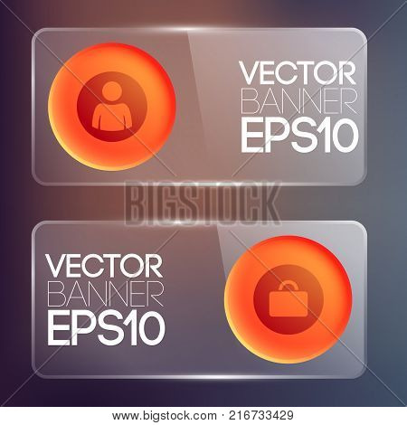 Web infographic glass horizontal banners with red round buttons and icons isolated vector illustration