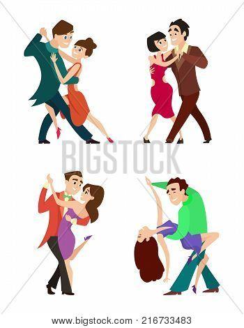 Set of modern dancing young couples. Dancer woman and man, tango dance romantic, vector illustration