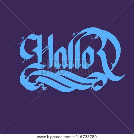 Flat typographical concept with word hallo written in