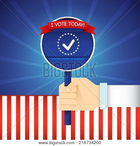 2016 usa colorful presidential election poster with voting hand flat vector illustration