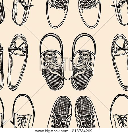 Seamless pattern with monochrome shoes. Hand drawn gumshoes
