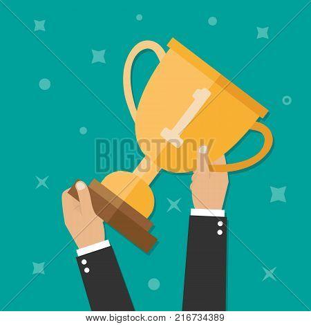 Hand holding winner's trophy award, winner's cups in flat design style