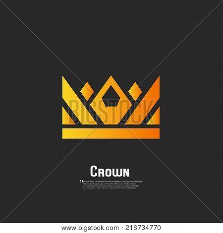 Geometric vintage crown. Logo design vector. Logo royal king queen