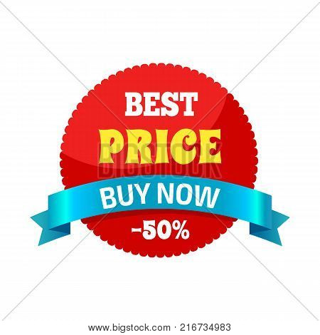 Best price buy now -50 sticker that is used to attract people to some product, special offer on round red shape label on vector illustration