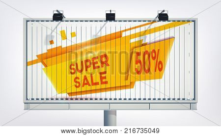 Big billboard sale banner with three lights, gigantic word super sale, fifteen percent and the yellow trapeze in the realistic style on the white background vector illustration