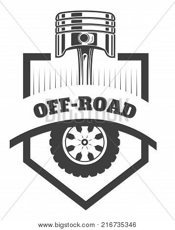 Off-road 4x4 extreme car club logo template. Vector symbol or icon of off road car
