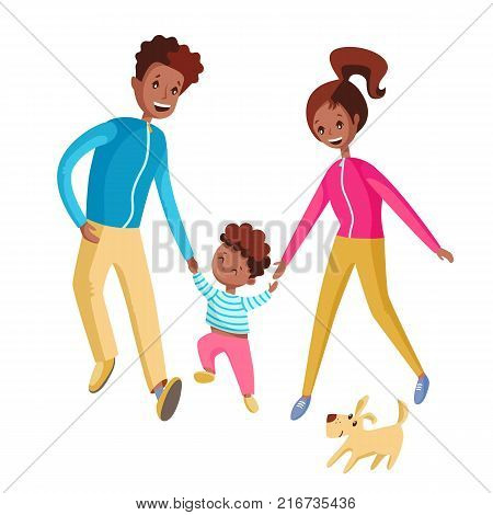 A happy family walks together. Mom, Dad and son go ahead with the dog. Vector illustration. Smiling.